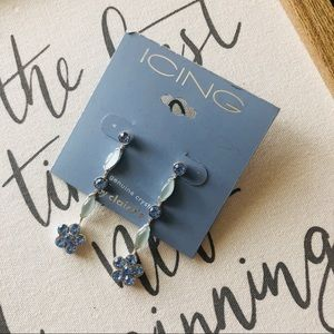 Blue drop flower earrings from Icing NWT